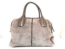 Authentic TOD'S Gray-Beige D-Bag Mouton Leather Handbag w/ Shoulder Strap
