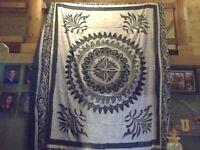 India Arts Handwoven Tapestry Bedspread Wall Hanging Dark Blue & Gray