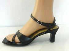 sandales à talon SAN MARINA taille 40  UK6.5 US 8 cuir noir pointure femme