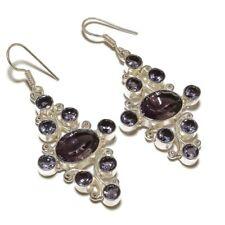 Brazilian Cluster Amethyst Gemstone silver plated Handmade Dangle Drop Earrings
