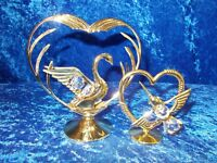 SET OF 2 CRYSTAL CREATIONS 24 K GOLD PLATED HEARTS (149)