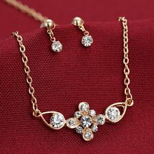V.G Wedding Stylish Rhinestone Bridal Set Necklace Crystal Drop Earrings
