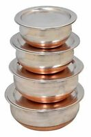 Copper handi Stainless Steel cookware & serving Bowls with Lids ( Set of 4)