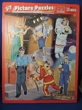 Large Careers Frame Tray Puzzle EUC 2002 Picture Astronaut Police Fire Mail Man