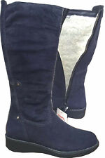 Tamaris 26625-25 Navy Real Suede Shearling Wool Lined Winter Wedge Boots Size 4