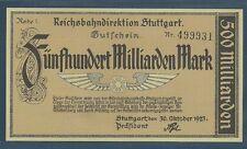 Germany Stuttgart 500 Milliarden Billion Mark, 1923, P S1378, UNC