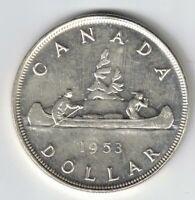 CANADA 1953 NSF VOYAGEUR SILVER DOLLAR QUEEN ELIZABETH II CANADIAN SILVER COIN