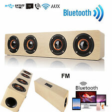 12W FM Vintage Wooden 3D Stereo Wireless Bluetooth 4 Loudspeaker SPEAKER