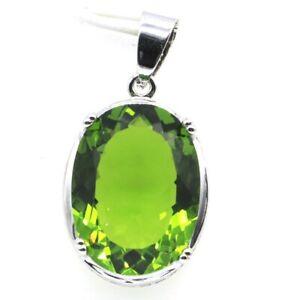 Gorgeous Big Oval Gemstone Green Peridot CZ Woman's Wedding Silver Pendant