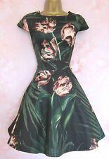 Ted Baker Palma Floral Vestido ~ ~ UK 10 2 ~ ~ Boda Verde Negro Rosa Patinadora Stretch