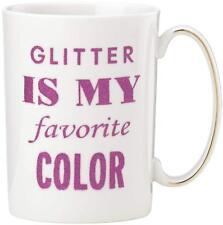 Kate Spade New York SIMPLY SPARK COFFEE MUG Glitter Is My Favorite Color, White