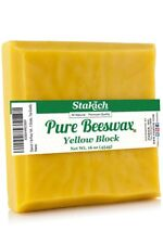Pure Yellow BEESWAX Block - 100% Natural, Craft Grade, Premium Quality - (1 lb)