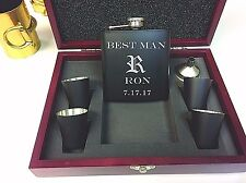 6 Personalized Engraved Flask Groomsmen Wedding Party Gift Sets Custom Wood Case