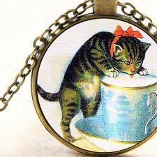 New Red Bow Kitten, Bronze Pendant Necklace, Cheeky Cat Drinking Milk in Tea Cup