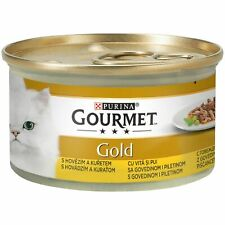 4xPurina Gourmet Gold Adult Cats Food Pet Snack Feed Beef Chicken Flavor 85g New