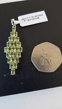 """AAA Hebei Peridot """"Cluster"""" 925 Sterling Silver Pendant with Chain."""