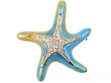 Lady Crystal Elements Pearlescent Blue Green Dancin Sea Starfish Pin Brooch