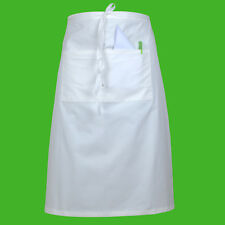 Long Bistro Apron Waiter Bar Cafe Kitchen Professional Chef Waitress Apron White