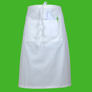 Long Bistro Apron Waiter Bar Cafe Kitchen Professional Chef Waitress Apron White