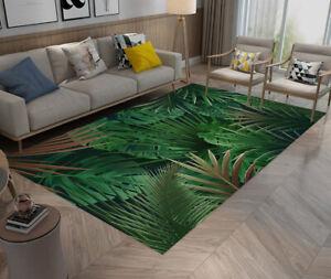 Green Plants Palm Leaves Yoga Carpet Bedroom Floor Mat Living Room Area Rugs
