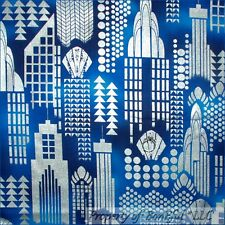 BonEful Fabric FQ Cotton Quilt Blue Navy Silver NYC Metallic CITY Block Dot Xmas