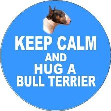 2 Bull Terrier (Coloured) Car Stickers (Keep Calm & Hug) By Starprint