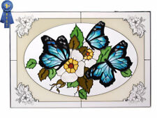 20x14 BLUE BUTTERFLY Floral Stained Art Glass Suncatcher Panel