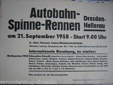 PLAKAT - Autobahn-Spinne-Rennen Dresden-Hellerau am 21. September 1958