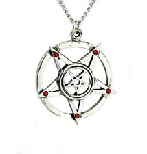 Inverted Pentagram Necklace w Red Stone Evil Occult Ritual Black Metal Goth Doom