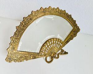 "9"" x 15"" Antique Bronze Fan Shaped Vanity Boudoir Etched Mirror Frame Spanish"