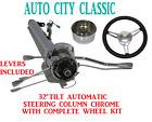 32 Streethot Rod Chrome Stainless Tilt Steering Column Automatic 3 Spoke Wheel