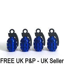 Blue Grenade Gernade Shape Air Valve Dust Caps Car Wheels Tyres Bikes Caps 4 pcs