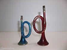 "Antique German Mercury Glass BUGLE Christmas Tree Ornament 4"" Blue Red HORNS"
