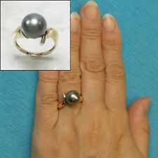 14k Solid Yellow Gold; 10.4mm Genuine Black Tahitian Pearl Solitaire Ring TPJ