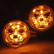 2PCS Motorcycle Skull Turn Signal Lights Bulb Amber Indicator Blinker For Harley