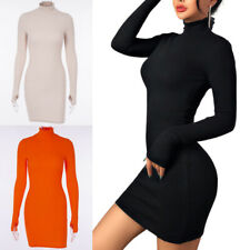 Women's Turtleneck Long Sleeve Skinny Mini Dress Sexy Bodycon Dresses Clubwear
