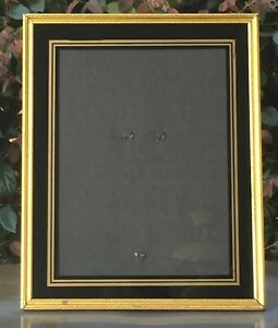 Vintage Mid Century Reverse Painted Glass Gold Metal Picture Frame Black 8 x 10