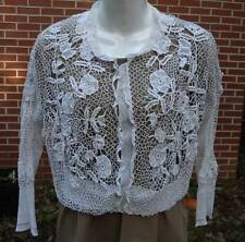 Antique Irish Clones Crochet Lace Blouse Jacket Handmade Needle Lace Shirt
