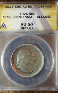 1926 Sesquicentennial 50 C ANACS AU 50 Commemorative Coin
