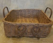 Square Wicker/Willow Woven Basket Tray with Metal Handle Storage Decor 9 X 9 EUC