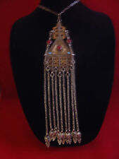 PLATED LEAD AND BRASS ANTIQUE INDIAN NECKLACE RED GLASS & TURQUIOSE STONE