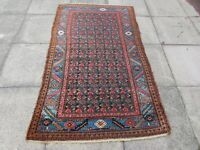 Antique Vintage Hand Made Traditional Rug Oriental Wool Blue Red Rug 200x115cm