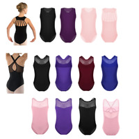 Kids Girl's Strappy Back Gymnastics Ballet Dance Camisole Leotard Tops Dancewear