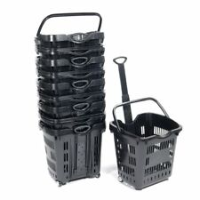 "Rolling Shopping Basket in Black 18 3/4"" W x 15 3/4"" D x 18 1/2"" H - Set of 10"
