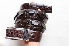 W 4.0cm - Dark Brown Genuine Alligator, CROCODILE Leather Skin MEN'S Belt #255
