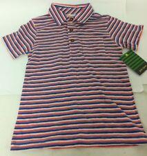 John Lewis Boys Retro Stripe Cotton Polo Shirt 6 Years Orange White Blue New