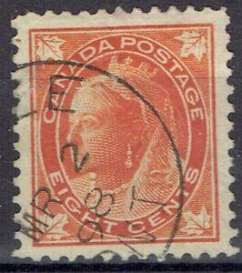 Canada.  QV.  1897-8.  8 cents orange.  Used.  Scott 72.  Cat $21.00.