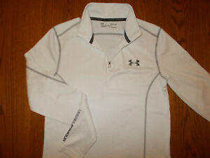 UNDER ARMOUR COLD GEAR 1/4 ZIP LONG SLEEVE WHITE FITTED TOP MENS SMALL EXCELLENT