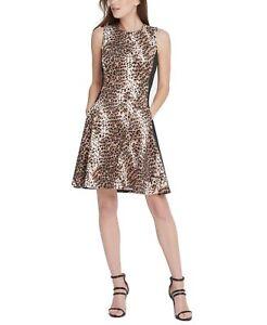 DKNY Women's A-Line Dress Black Brown Size 6 Animal-Print Scuba $119- #353