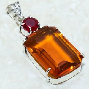 "Champagne Quartz, Garnet Gemstone Ethnic Silver Jewelry Pendant 2.0"" PLG6345"
